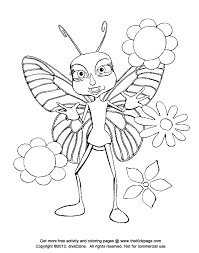 Cartoon Butterfly With Flowers