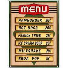 Diamond Diner Menu Prices Metal Sign Kitchen Wall Decor Vintage