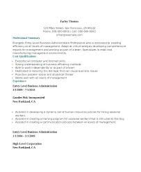 Example Of Business Resume Sample Administration Entry Level Bachelor Free Templates Internship Format For