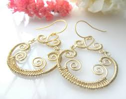 Gold Brass Chandelier Wire Wrapped Earrings Fancy Special Ocassion