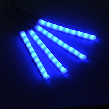 4 Pcs Blue Color Car LED Lights DC 12V Interior Light Dashboard Floor Decoration