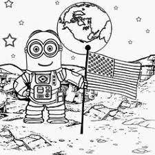 Walking On The Moon Astronaut Costume Space Man Dave Minion Coloring Pages To Print Despicable Me