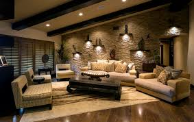 Mesmerizing Images Of Living Room Decoration With Various Stone Wall Heavenly Classic