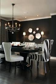 Glamour Dining Room Ideas With Solid Dark Wood Table And Black Wall Paint Image White Photos