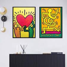 modulare leinwand home decor keith haring abstrakte wand kunst aquarell bilder gemälde für wohnzimmer kunstwerk keine rahmen