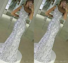 2017 new sparkle bling silver prom dresses sequins lace long