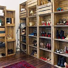 DIY Shoe Shelves From Wooden Crate