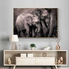 schwarz und weiß afrian elefanten ölgemälde auf leinwand