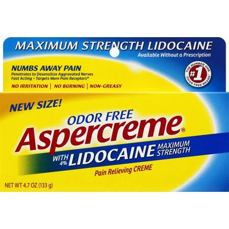 Aspercreme Maximum Strength Lidocaine Pain Relieving Cream - 133g