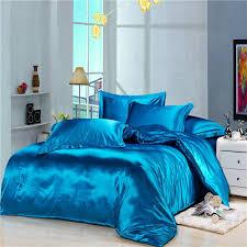 Elegant Bedroom with Royal Blue Satin Bedding Sets Silkly