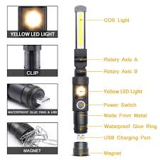 Led Cob Inspección Trabajo Luz De La Lámpara Flexible Mano