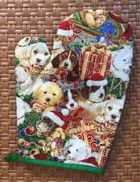 Quilted Christmas Green Pot Holder Dog Print Oven Mitts Pet Theme Potholder Decoration