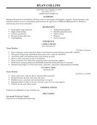 Fast Food Crew Member Resume Templates Service Caterer