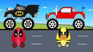 Batman Monster Truck And DeadPool Surprise Egg Vs Wolverin Egg ... Video Monster Vehicles Truck Car More The Carl The Super And Hulk In City Cars Fire Team Vs Youtube Kids Top 17 Trucks I Want To See At Monster Jam Tacoma 2015 Scary For Halloween Special Kids Haunted House Garage Race Episodes 1 11 Batman And Deadpool Surprise Egg Vs Wolverin Trucks For Children Red Easy On Eye Grave Digger Toys Feature Year Old Baby Driving Truck