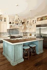 Shabby Chic Kitchen With Chandeliers And Vintage Island Charming In Category