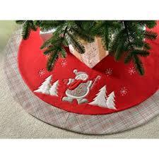 Dancing Snowman Tartan Design Tree Skirt