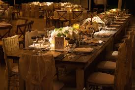 Wood Farm Table At Wedding Reception With Lace Chair Covers Vintage Ideas