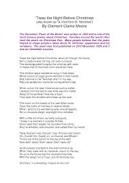 Famous Poems About Halloween by Twas The Night Before Christmas Poem Printable U2013 Happy Holidays