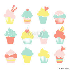 Set of ice cream sundae cupcake icons in pastel colors isolated vectors