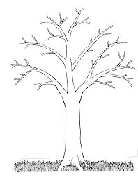 Fall Tree Black And White Clipart