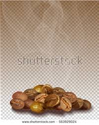 Roasted Coffee Beans With Smoke On A Transparent Background Vector Image