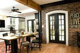81 Wall Decor Appealing Retro Small Exposed Brick Kitchen With Black Patio Door And