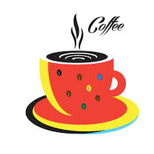 Coffee Cup Logo Espresso Hot Abstract Modern Design Red Mug On