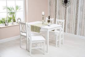 kiefer massiv weiß holz esszimmer set tisch und 4 stühle