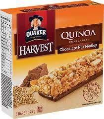 QuakerR Harvest Quinoa Chocolate Nut Medley Granola Bars