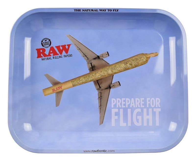 "Raw Prepare for Flight Metal Rolling Tray - Large, 13.5"" x 11"""