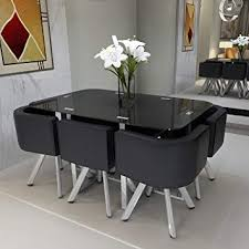 Precious Black Glass Dining Room Table And Chairs Feifeiyo Set Round 1 X 6