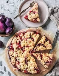 pflaumenkuchen mit streusel veganer quark ölteig