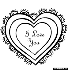 Valentines Day Lace Hearts Coloring Page