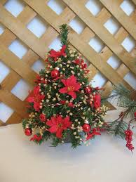 Red Poinsettia Decorated Christmas Tree Small Table Top