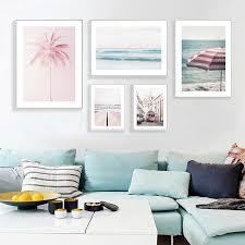 nordic wandbild rosa straßenbahn dekoration leinwand malerei pastell rosa palm wand bilder für wohnzimmer wohnkultur