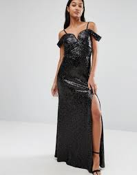 tfnc sweetheart sequin maxi dress with cold shoulder the dress villa