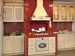 Inimitable Country Kitchen Decor Items With Red Paint Colors And Subway Tile Backsplash Also