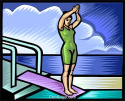 Girl Diving Off Board Royalty Free Vector Clip Art Illustration