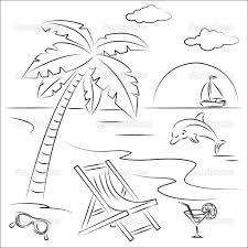 Image Beach Scene Coloring Pages