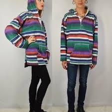 90s Flannel Shirt Hood Men Large Grunge Hippie Rasta Stripe Oversize Hoodie Mens Vinta