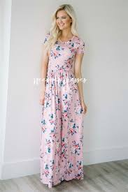 pink blue mauve floral maxi modest dress best and affordable