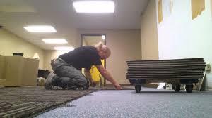 Peel And Stick Carpet Tiles Cheap by Carpet Tile Over Carpet Youtube