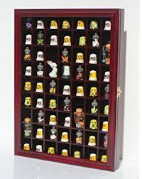 59 Thimble Display Case Wall Shadow Box Cabinet Glass Door Solid Wood TC01