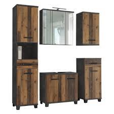 forte veris badmöbel set 5 teilig im dekor betonoptik dunkelgrau und wood vintage badezimmerkombination 02 für ihr badezimmer inkl