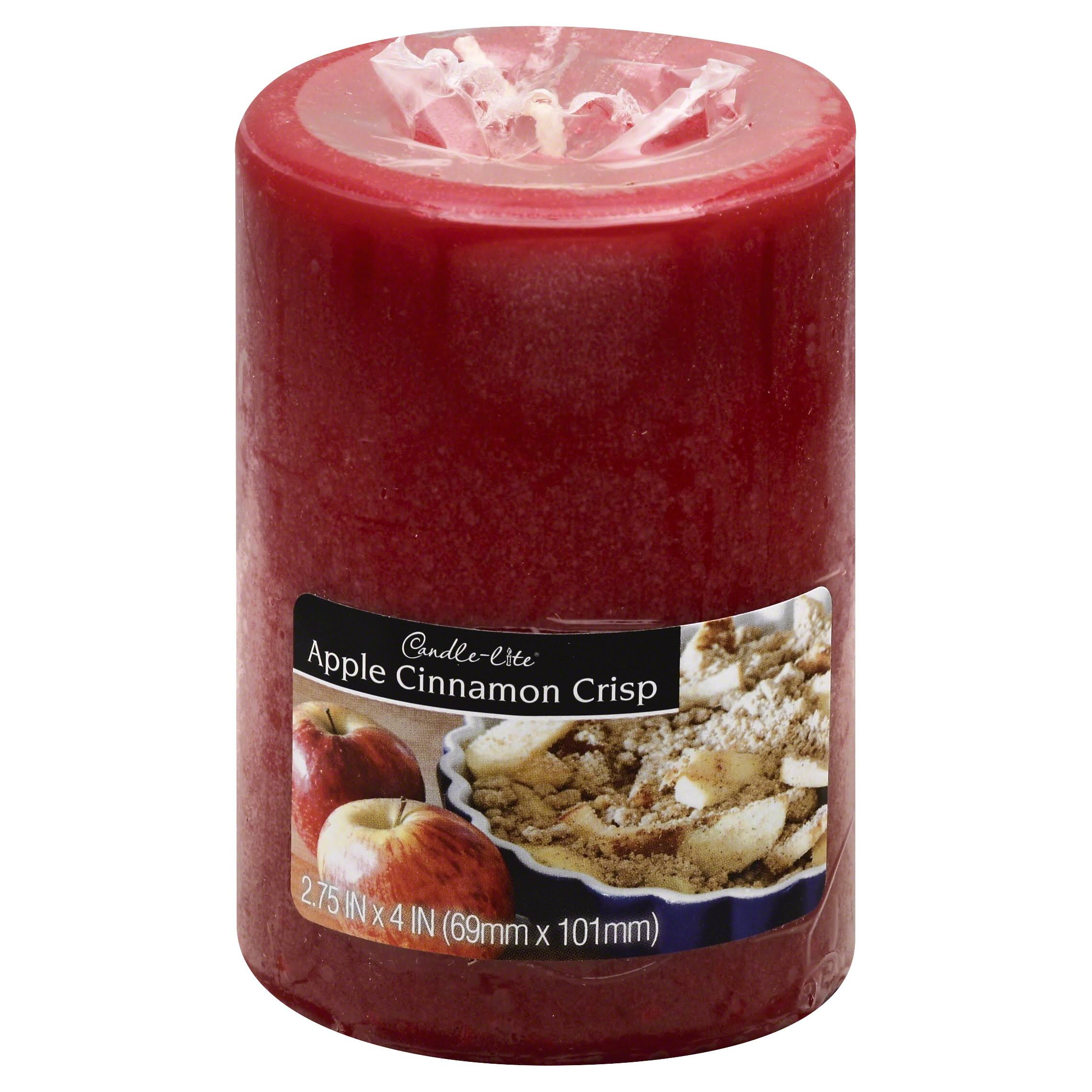 Candle-lite 2844021 Basics Scented Round Pillar Candles - Apple Cinnamon, 4""
