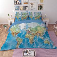Luxury World Map Bedding Set Vivid Printed Blue Bed Cover Twill
