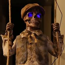 Motion Activated Outdoor Halloween Decorations by Speaking Life Size Animated Rising Phantom Reaper Horror Prop