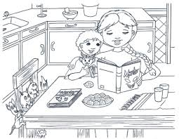 Valuable Ideas Kitchen Coloring Page Pages Eume