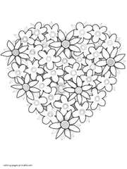 Coloring Pages Of Hearts Heart Flowers Page