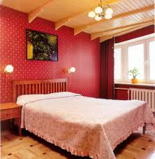 Decoration Wonderful Design Of Vintage Room Ideas With Red Wall Also Brown Wooden Ceiling